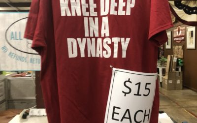 KNEE DEEP IN A DYNASTY. (copyrighted logo) Now available at Prattville Pickers; after all, we are located on the Tuscaloosa Highway 82. PRATTVILLE.